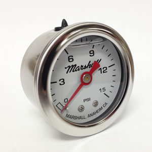 "Marshall CW00015.  1.5"" Direct Mount Fuel/Oil/Air/Water Pressure Gauge, Liquid Filled, 1/8"" NPT Center Back Connection"