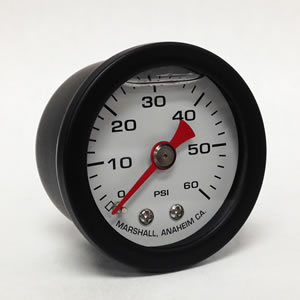 "Marshall CWB00060.  1.5"" Direct Mount Fuel/Oil/Air/Water Pressure Gauge, Liquid Filled, 1/8"" NPT Center Back Connection"
