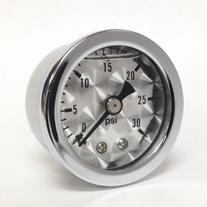 "Marshall ET00030.  1.5"" Direct Mount Fuel/Oil/Air/Water Pressure Gauge, Liquid Filled, 1/8"" NPT Center Back Connection"