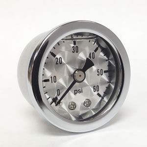 "Marshall ET00060.  1.5"" Direct Mount Fuel/Oil/Air/Water Pressure Gauge, Liquid Filled, 1/8"" NPT Center Back Connection"