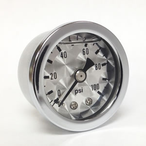 "Marshall ET00100.  1.5"" Direct Mount Fuel/Oil/Air/Water Pressure Gauge, Liquid Filled, 1/8"" NPT Center Back Connection"