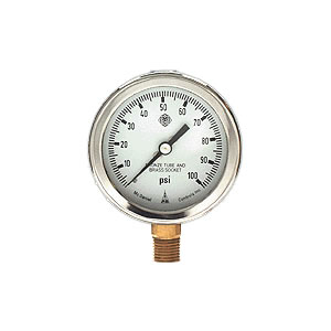 "McDaniel 2.5"" Gauge, Stainless Case, 1/4"" NPT Connection, Fillable w/ Blowout Relief"